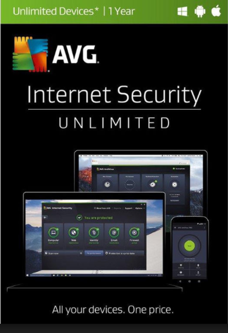 AVG Internet Security Unlimited Devices 2017 1 YEAR Global